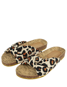 Leopard Print Knotted Footbed Sliders by Accessorize