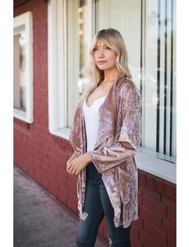 Draped In Crushed Velvet Cardigan by Amaryllis Apparel