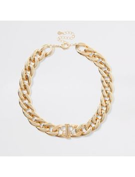 Gold Colour Chunky Chain Ri Necklace by River Island