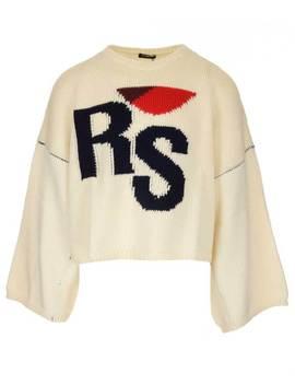 Raf Simons Monogram Cropped Sweater by Raf Simons Raf Simons