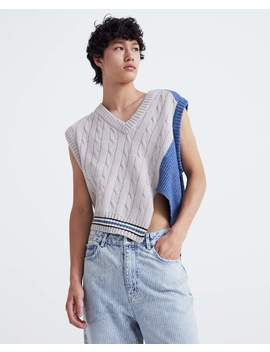 Asymmetric Knitted Vest   Blue And Grey by Delada