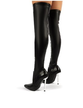 Gia Black Pu Stiletto Heeled Over The Knee Boots by Public Desire