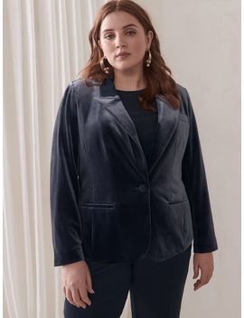 Single Breasted Velvet Blazer   Addition Elle by Penningtons