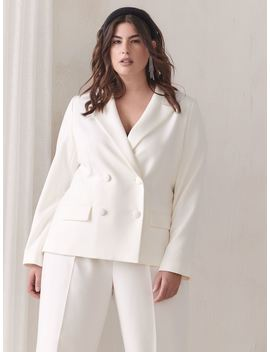 White Double Breasted Blazer   Addition Elle by Penningtons