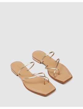 Florence Flat Sandals Gold Leather by Jo Mercer