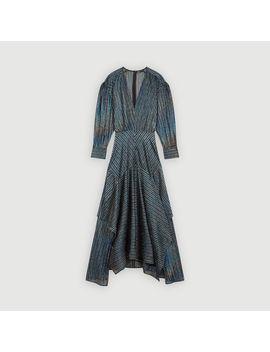 Striped Lurex Scarf Dress by Maje