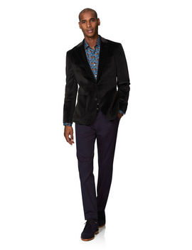 Corelli Slim Fit Cord Jacket In Charcoal by T.M.Lewin