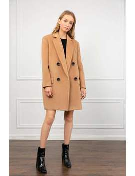 Oakey Brown Oversize Pea Coat by J.Ing