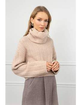 Donna Beige Knitted Turtleneck by J.Ing