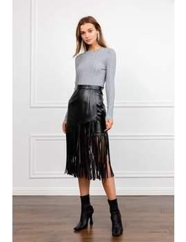The Fringe Black Leather Midi Skirt by J.Ing