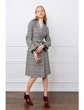 The Ida Grey Plaid Trench Coat by J.Ing