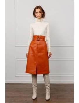 Brick Orange Belted Midi Skirt by J.Ing