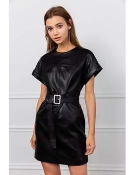 Sally Black Belted Wet Dress by J.Ing
