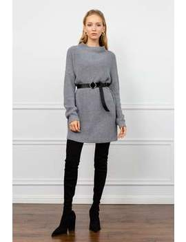 Gabby Grey Knit Sweater Dress by J.Ing