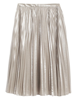 Metallic Pleated Midi Skirt by Banana Republic