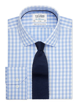 Block Check Fitted Blue Single Cuff Shirt by T.M.Lewin