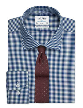 Navy Gingham Fitted Button Cuff Shirt by T.M.Lewin
