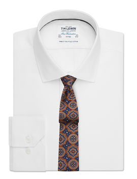 Twill Fitted White Single Cuff Shirt by T.M.Lewin