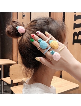 Preferred1/4 Pcs Sweet & Cute Matte Fruits Hair Ropes Strawberry Pineapple Korean Hairties Hair Accessories by Shopee