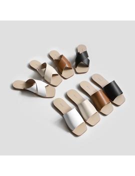 [Sappun] Flua Natural Leather Slipper 1cm Strap by Shopee