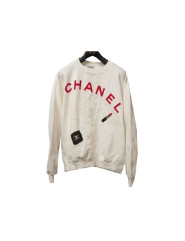 Chanel Vintage Chanel Logo Sweat Shirt Trainer White Lip Pattern White Size M Man And Woman Examination 0109 Chanel by Rakuten Global Market