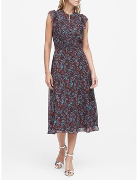 Petite Floral Fit And Flare Dress by Banana Republic