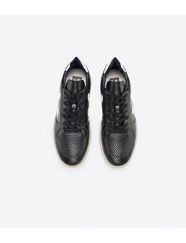 Veja V 10 Leather Trainers   Black, White, White Sole by Veja