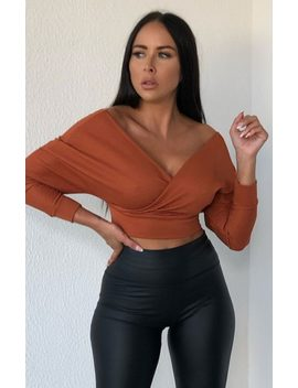 Rust Ribbed Off The Shoulder Crop Top   Kourt by Femme Luxe