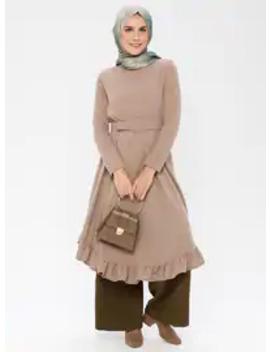 Mink   Crew Neck   Unlined      Dress by Modanisa