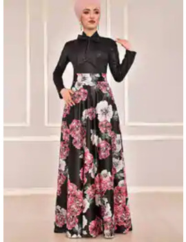 Fully Lined   Dusty Rose   Floral   Evening Suit by Modanisa