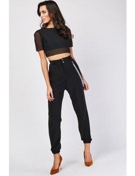 High Waist Trousers With Chain Trim by Everything5 Pounds