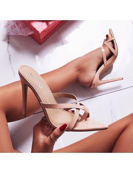 Julie Toe Strap Heel Mule In Nude Patent by Ego