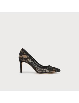 Floret Black Lace Pointed Toe Courts by L.K.Bennett