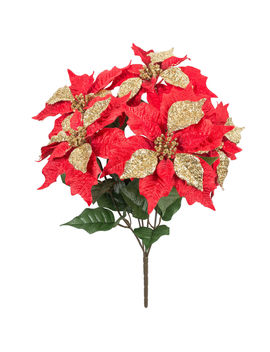 "Red/Gold Glitter Poinsettia Bush, 21""Red/Gold Glitter Poinsettia Bush, 21"" by At Home"