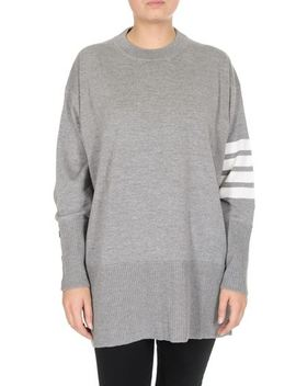 Oversized Grey Pullover With 4 Bar Stripes by Thom Browne