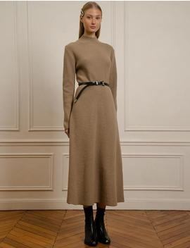 Brown Wool  Long Knit Dress by Pixie Market
