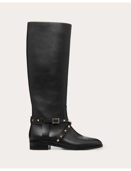 Rockstud Calfskin Leather Boot 25 Mm by Valentino Garavani