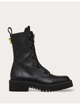 Calfskin Leather Combat Boot With Loop Detail 15 Mm by Valentino Garavani