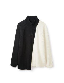 Half Zip Sweater   Black/Off White by Represent