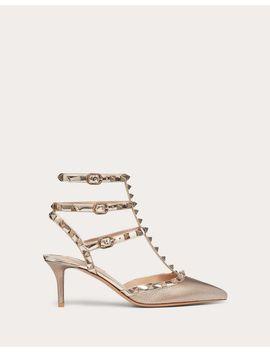 Rockstud  Metallic Grainy Calfskin Leather Ankle Strap Pump 65 Mm by Valentino Garavani