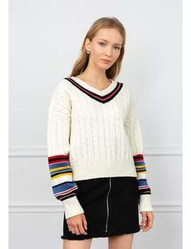 Apex White Cable Knit Sweater by J.Ing
