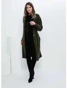 Khaki   Acrylic      Plus Size Cardigan by Modanisa