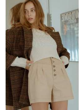 Mika Beige Button Shorts by J.Ing