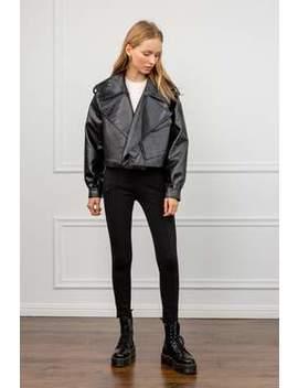 Alexa Black Oversize Vegan Leather Jacket by J.Ing