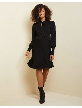 Tied Neck Fit And Flare Sweater Dress by Rw & Co