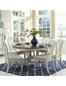 Hillsdale Pine Island 7 Piece Round Extension Dining Set With Wheat Back Chairs by Hillsdale Furniture