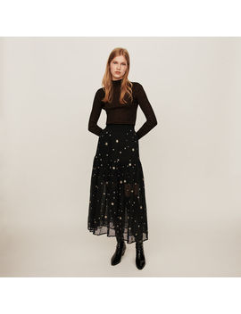 Star Embroidered Tulle Skirt by Maje