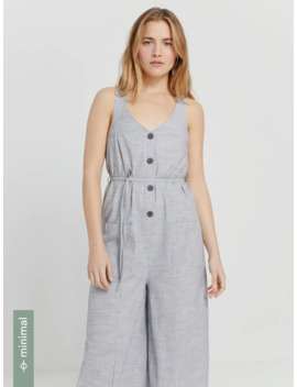 Good Cotton Button Up Striped Jumpsuit In Black by Frank & Oak