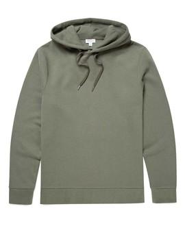Men's Cotton Cashmere Fleece Hoody In Khaki Grey by Sunspel