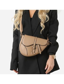 Curved Cross Body Saddle Bag In Nude Faux Leather by Ego